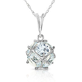 14K Solid White Gold Necklace with Natural Aquamarines
