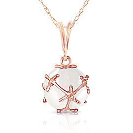 14K Solid Rose Gold Necklace with Natural Opals