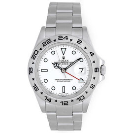 Rolex Explorer II 16570 Stainless Steel White Dial with Date 40mm Mens Watch