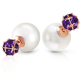 14K Solid Rose Gold Tribal Double Shell Cultured Pearls And Amethysts Stud Earrings