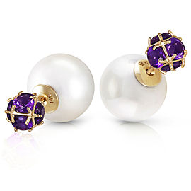 14K Solid Gold Tribal Double Shell Cultured Pearls And Amethysts Stud Earrings
