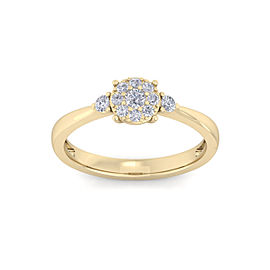 Halo Engagement Ring with Sidestones in 18K Gold and 0.33ct Diamonds