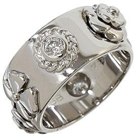 CHANEL 18K White Gold 2P Diamond Camellia Band Ring US5.75
