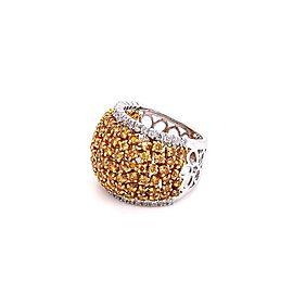 3.30 Carat / Cluster Natural Yellow Diamonds / 18 Karat Two-Tone Gold / Ring