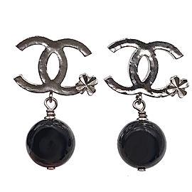 Chanel CC Silver Tone Clover Black Stone Dangle Earrings