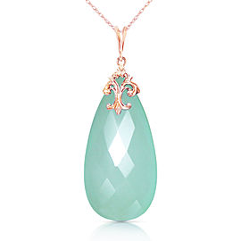 14K Solid Rose Gold Necklace with Briolette 31x16 mm Mint Green Chalcedony