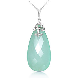 14K Solid White Gold Necklace with Briolette 31x16 mm Mint Green Chalcedony