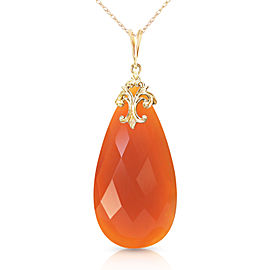 14K Solid Gold Necklace with Briolette 31x16 mm Reddish Orange Chalcedony