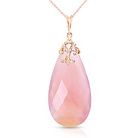 14K Solid Rose Gold Necklace with Briolette 31x16 mm Pink Chalcedony