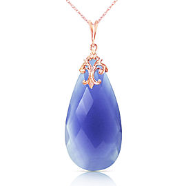 14K Solid Rose Gold Necklace with Briolette 31x16 mm Deep Blue Chalcedony