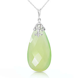 14K Solid White Gold Necklace with Briolette 31x16 mm Prehnite Color Chalcedony
