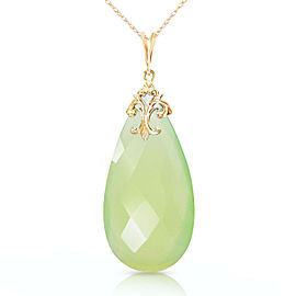 14K Solid Gold Necklace with Briolette 31x16 mm Prehnite Color Chalcedony