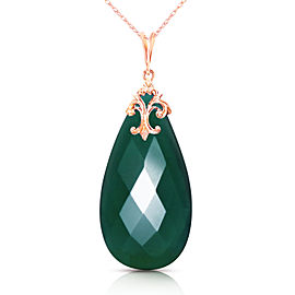 14K Solid Rose Gold Necklace with Briolette 31x16 mm Deep Green Chalcedony