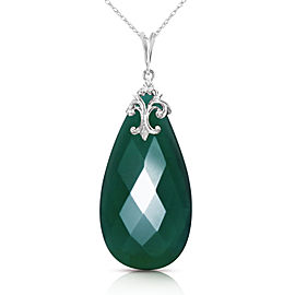 14K Solid White Gold Necklace with Briolette 31x16 mm Deep Green Chalcedony