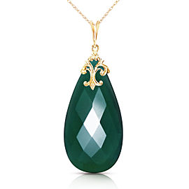 14K Solid Gold Necklace with Briolette 31x16 mm Deep Green Chalcedony