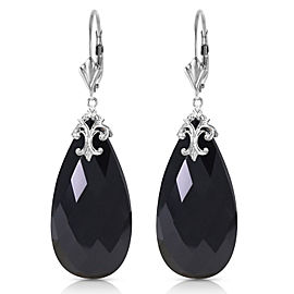 14K Solid White Gold Leverback Earrings with Briolette 31x16 mm Black Onyx