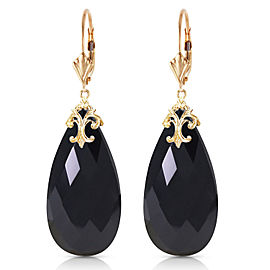 14K Solid Gold Leverback Earrings with Briolette 31x16 mm Black Onyx