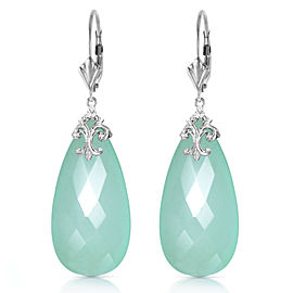 14K Solid White Gold Leverback Earrings with Briolette 31x16 mm Mint Green Chalcedony