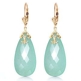 14K Solid Gold Leverback Earrings with Briolette 31x16 mm Mint Green Chalcedony