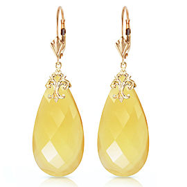 14K Solid Gold Leverback Earrings with Briolette 31x16 mm Yellow Onyx