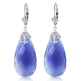 14K Solid White Gold Leverback Earrings with Briolette 31x16 mm Deep Blue Chalcedony