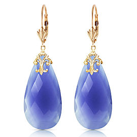 14K Solid Gold Leverback Earrings with Briolette 31x16 mm Deep Blue Chalcedony