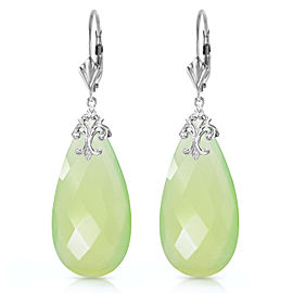 14K Solid White Gold Leverback Earrings with Briolette 31x16 mm Prehnite Color Chalcedony