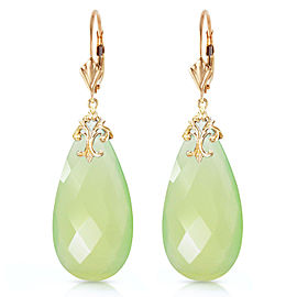 14K Solid Gold Leverback Earrings with Briolette 31x16 mm Prehnite Color Chalcedony
