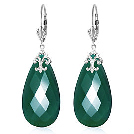 14K Solid White Gold Leverback Earrings with Briolette 31x16 mm Deep Green Chalcedony