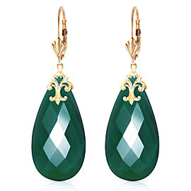 14K Solid Gold Leverback Earrings with Briolette 31x16 mm Deep Green Chalcedony