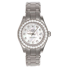 Rolex Pearlmaster 80299 18k White Gold Mother of Pearl Diamond 29mm Womens Watch