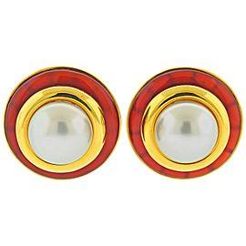 Aldo Cipullo South Sea Pearl Carnelian Gold Earrings