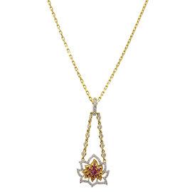 Buddha Mama 20K Yellow Gold Diamonds & Sapphires Lotus Necklace