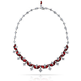 Platinum 29.30ctw. Ruby 21.61ctw. Diamond Necklace