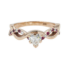 14K Rose Gold with 0.51ct Heart Cut Diamond & Ruby Engagement Ring Size 6
