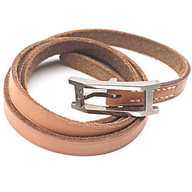 Hermes Palladium Plated & Brown Leather Hapi H Wrap Bracelet