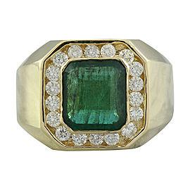 4.26 Carat Emerald 14K Yellow Gold Diamond Ring