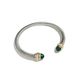 David Yurman Sterling Silver & 14k Gold Malachite Bracelet, 5mm