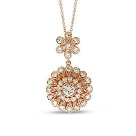 14k Rose Gold 1.00 Ct. Natural Diamond Flower Floral Filigree Pendant