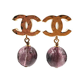 Chanel CC Gold Tone Metal Plum Stone Bead Dangle Piercing Earrings