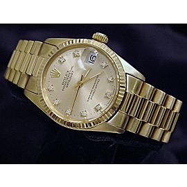 Pre Owned Mid-Size Rolex Yellow Gold Datejust President Champagne Diamond 6827