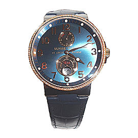 Ulysse Nardin Maxi Marine 265-66-BLUE Stainless Steel and 18K Rose Gold Blue Dial Diamond Bezel 41mm Watch