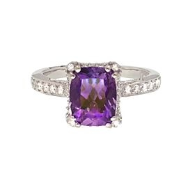 Tacori 18K White Gold Amethyst .36ctw Diamond Ring Size 6.25
