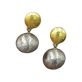 Gurhan Lentil Blackened Sterling Silver & 24K Yellow Gold Dangle Clip On Earrings