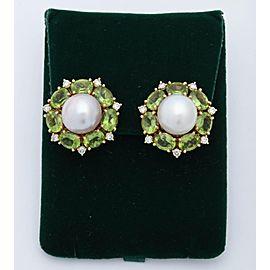 Seaman Schepps 18K Yellow Gold South Sea Cultured Pearl Peridot Diamond Earrings