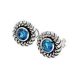 Scott Kay 925 Sterling Silver with Blue Topaz Earrings