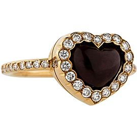 Christian Dior 18K Yellow Gold Diamond Heart Ring Size 5.75
