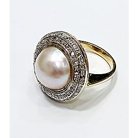 Yellow Gold/Silver with Mabe Pearl and Diamon Ring