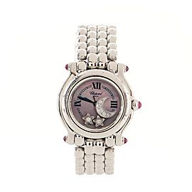 Chopard Happy Sport Star & Moon Round Quartz Watch Stainless Steel and Floating Diamonds 25