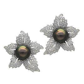 18K White Gold Tahitian Black Cultured Pearl Flower Leaf Earrings